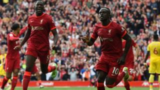 Sadio Mane celebrates scoring