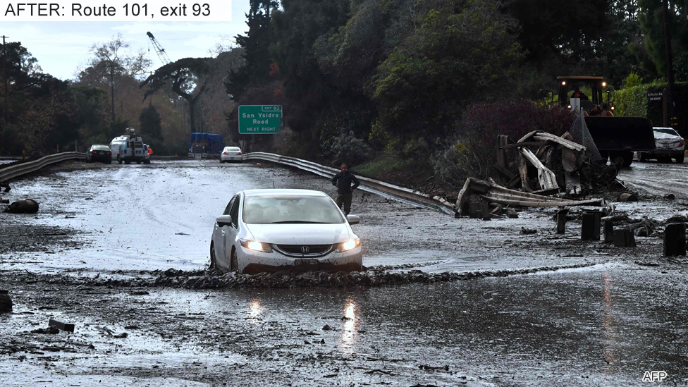 Route 101, after the mudslides