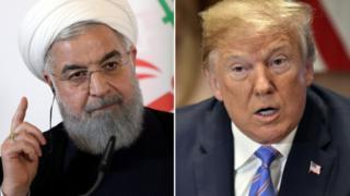 A composite image showing Donald Trump and Hassan Rouhani