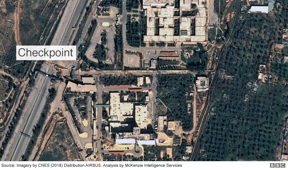 Satellite image of a roadblock near a hospital, Eastern Ghouta
