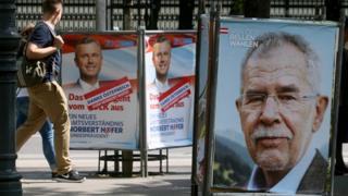 Campaign posters for Norbert Hofer and Alexander Van der Bellen