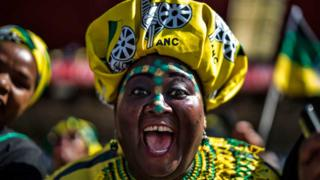 A supporter of the ruling party Africa National Congress reacts at the Ellis Park stadium in Johannesburg, on May 5, 2019 during the final campaign rally of the party.