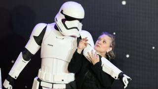 Stormtrooper and Carrie Fisher