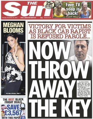 The Sun front page, 20/11/18