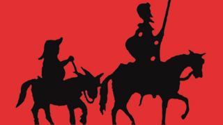 Silueta de Don Quijote y Sancho