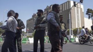 Police outside Iran's parliament following an attack by several gunmen on June 7, 2017 in Tehran, Iran