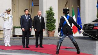 Italian Prime Minister Giuseppe Conte and Russian President Vladimir Putin