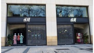 General view of the closed H&M store, at Avenue des Champs Elysees, in the 8th quarter of Paris, as the city imposes emergency measures to combat the Covid-19 outbreak, on 16 March 2020 in Paris, France.