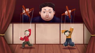 A illustration of Kim Jong-un as a puppeteer