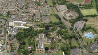 Aerial view of Peterborough Cathedral and surrounding area