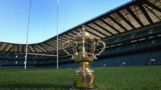 The Webb Ellis Trophy, also known as the Rugby World Cup