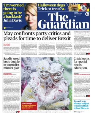 Guardian front page - 23/10/18