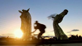 Sunset at The Kelpies