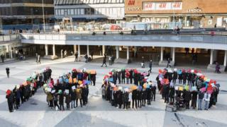 Manifestação em Estocolmo em fevereiro