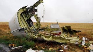 حطام الطائرة الماليزية بوينغ 777 التي تحطمت في أوكرانيا في عام 2014
