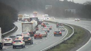 Surface water has caused problems on the M4 near Bridgend