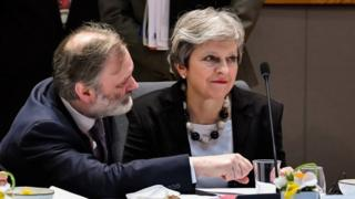Theresa May and Britain's Permanent Representative to the European Union Tim Barrow