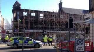 Scaffolding at fire damaged property in Inverness