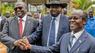 madaxweynaha iyo hogaamiyaha mucaaradka ee South Sudan