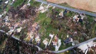 Debris marks where homes stood in Perryville, Missouri