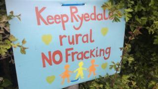 Protest sign: Keep Ryedale rural No fracking
