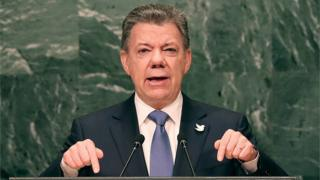 Colombia's President Juan Manuel Santos addresses the General Assembly at the United Nations on September 21, 2016 in New York City.