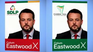 Colum Eastwood on election posters for the SDLP and for Fianna Fáil