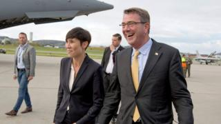 Norwegian Defence Minister Ine Eriksen Soereide (L) with US Defence Secretary Ash Carter at Bodo Airport in Bodo, Norway on 8 September 2016