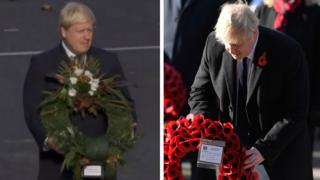 PM Boris Johnson, pictured in 2016 and again on Sunday, at separate Remembrance Day services