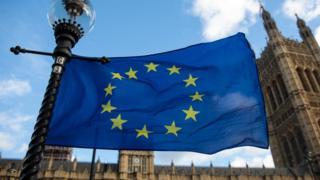 EU flag outside Houses of Parliament