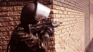 British soldier on patrol in NI