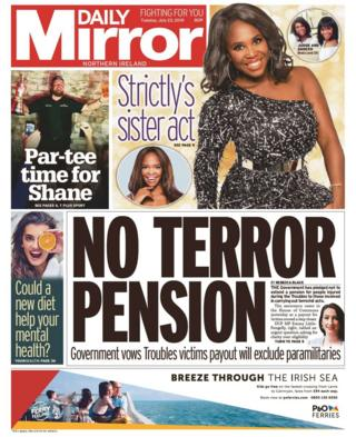 front page of Daily Mirror Tuesday 23 July 2019