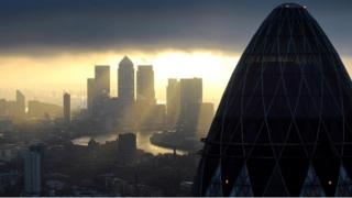 View of Canary Wharf from the City