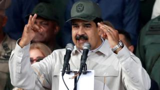 Venezuela's President Nicolás Maduro speaks in Caracas, 13 April 2019