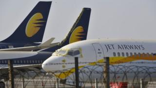 Jet Airways planed parked at Chattrapati Shivaji International Airport in Mumbai on 25 March 2019