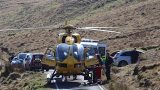 Air ambulance helicopter during rescue operation