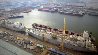 A general view of Daewoo Shipbuilding & Marine Engineering (DSME) in Geoje Island, South Korea
