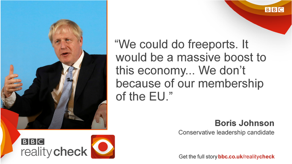 Boris Johnson saying: We could do freeports. It would be a massive boost to this economy... We don't because of our membership of the EU.