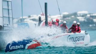 Groupama Team France vessel skippered by Franck Gammas in action