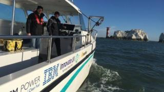 Hydrogen-powered boat at the Needles