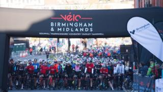 Cyclists at the start