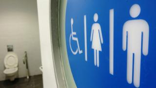 Disabled, female and male toilet symbols