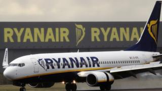 Ryanair plane at Stansted Airport