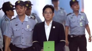 Lee Jae-yong, vice chairman of Samsung Electronics Co., arrives for his trial at the Seoul Central District Court in Seoul, South Korea 7 August 2017