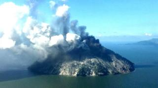 The remote island volcano of Kadovar spews ash into the sky in Papua New Guinea, January 6, 2018