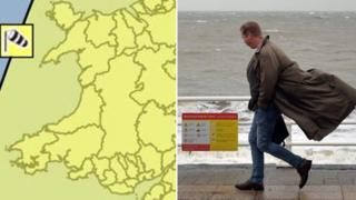 A map of Wales with the areas covered by a wind warning and a man walking in the wind