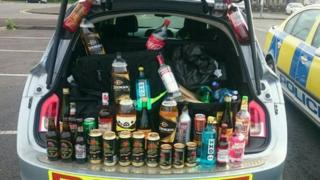 Alcohol in boot of a police car