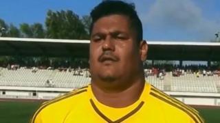 Seychelles goalkeeper Dave Mussard.