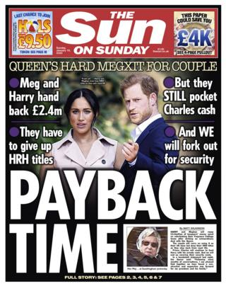 The Sun on Sunday front page 19/01/20