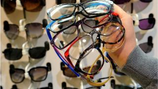 Glasses in optician